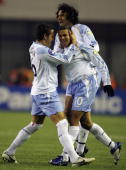 Stephen Corica of Australia celebrates with teammates during their AFC Champions League 2007 match between the Sydney FC of Australia and Shanghai...