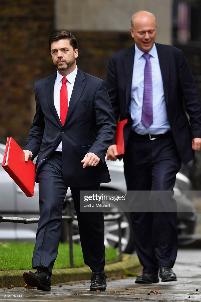 <a gi-track='captionPersonalityLinkClicked' href=/galleries/search?phrase=Stephen+Crabb&family=editorial&specificpeople=13218086 ng-click='$event.stopPropagation()'>Stephen Crabb</a>, Secretary of State for Work and Pensions (L) arrives for a cabinet meeting at Downing Street on June 27, 2016 in London, England. British Prime Minister David Cameron is due to chair an emergency Cabinet meeting this morning, after Britain voted to leave the European Union. Chancellor George Osborne spoke at a press conference ahead of the start of financial trading and outlining how the Government will 'protect the national interest' after the UK voted to leave the EU.