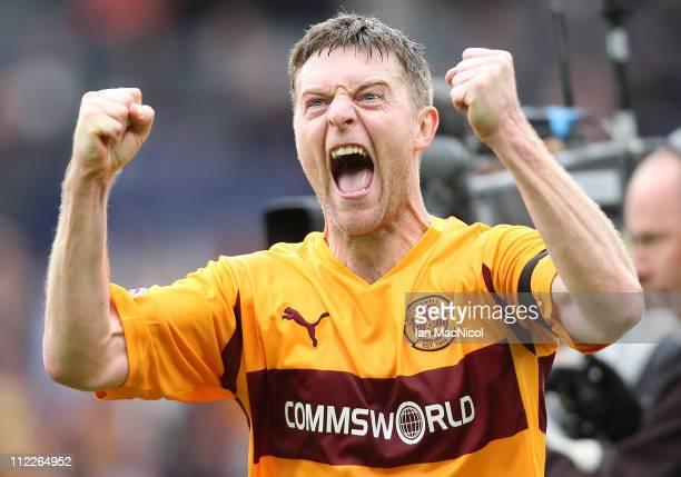 Stephen Craigan of Motherwell celebrates his team's 30 victory over St Johnstone at the end of the Scottish Cup semifinal between Motherwell and St...