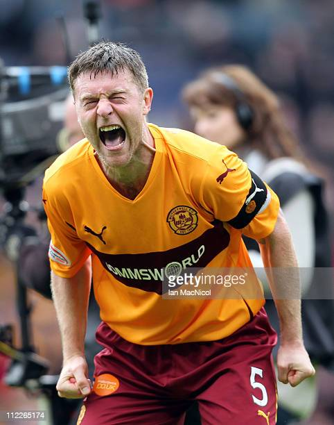 Stephen Craigan of Motherwell celebrates his teams 30 victory over St Johnstone at the end of the Scottish Cup semifinal between Motherwell and St...