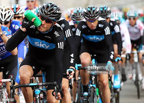 Stephen Cummings of Great Britain and Team SKY rides in the peloton during the 74th Fleche Wallonne Race on April 21 2010 in Huy Belgium