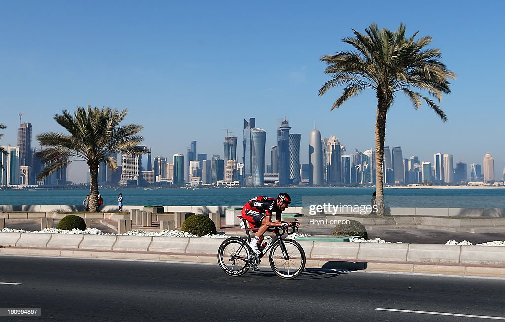 Stephen Cummings of Great Britain and the BMC Racing Team rides on stage six of the 2013 Tour of Qatar from Sealine Beach Resort to Doha Corniche on February 8, 2013 in Doha, Qatar.