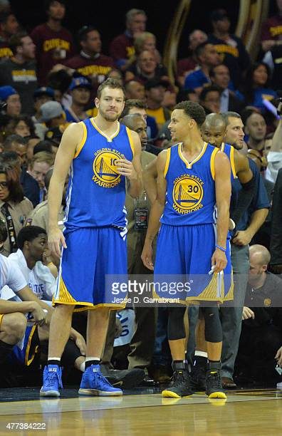 Stephen Curry and David Lee of the Golden State Warriors look on against the Cleveland Cavaliers at the Quicken Loans Arena During Game Six of the...