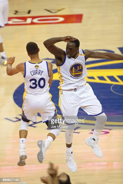 Stephen Curry and Draymond Green of the Golden State Warriors chest bump after winning Game Five of the 2017 NBA Finals against the Cleveland...