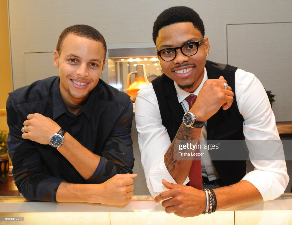 Stephen Curry and Kent Bazemore attend the David Yurman Launch of The Meteorite Collection With Kent Bazemore at Westfield Valley Fair on October 25, 2013 in Santa Clara, California.