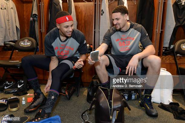 Stephen Curry and Klay Thompson of the Western Conference AllStar Team gets ready in the locker room before the NBA AllStar Game as part of the 2017...
