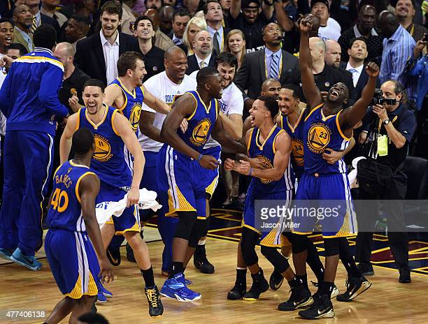 Stephen Curry and the Golden State Warriors celebrate their 105 to 97 win over the Cleveland Cavaliers in Game Six of the 2015 NBA Finals at Quicken...