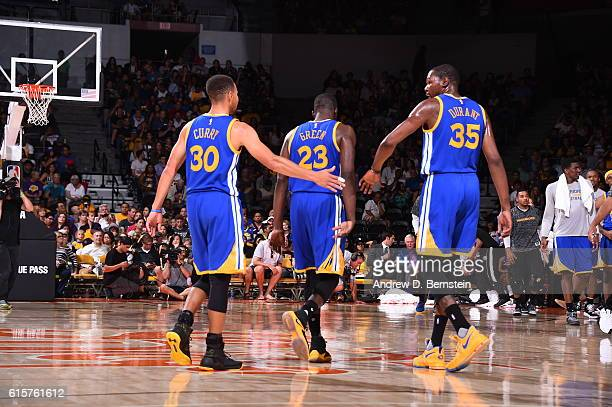 Stephen Curry Draymond Green and Kevin Durant of the Golden State Warriors are seen against the Los Angeles Lakers on October 19 2016 at Valley View...