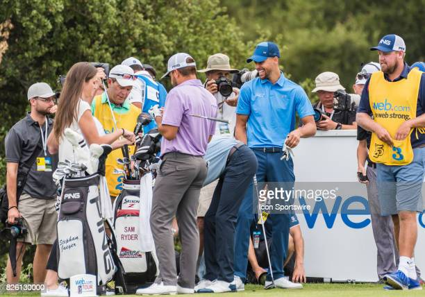 Stephen Curry keeping it light between his threesome before tee off during the first round of the Ellie Mae Classic at TPC Stonebrae in Hayward CA on...