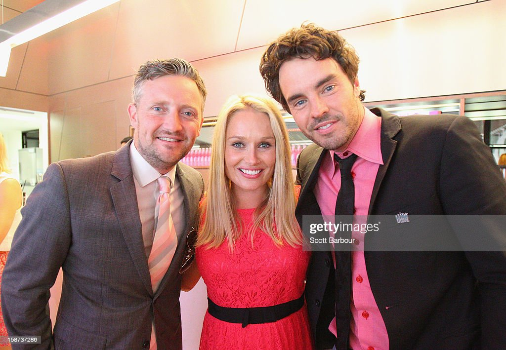 Stephen Curry, Lee Furlong, wife of Shane Watson and Damon Gameau pose during the 'High Tea at the G' luncheon on day two of the International Test match between Australia and Sri Lanka at Melbourne Cricket Ground on December 27, 2012 in Melbourne, Australia.