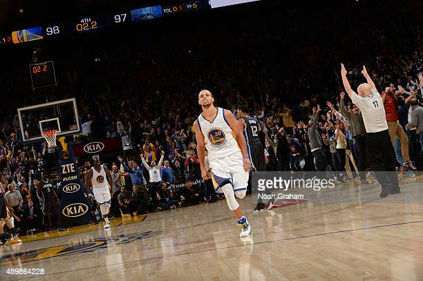 Stephen Curry of Golden State Warriors after making the game winning shot against the Orlando Magic on December 2 2014 at Oracle Arena in Oakland...