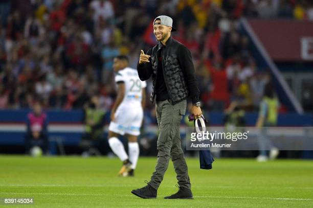 Stephen Curry of Golden State Warriors gives first kick before the Ligue 1 match between Paris SaintGermain ans AS SaintEtienne at Parc des Princes...