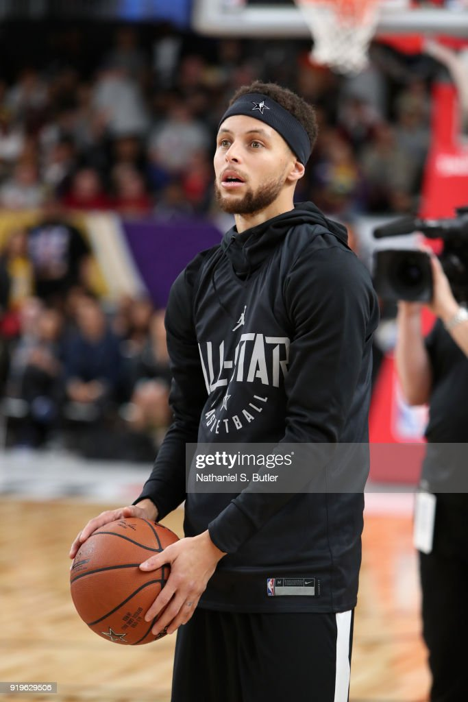 Stephen Curry #30 of Team Stephen participates in the NBA All-Star practice as part of the 2018 NBA All-Star Weekend on February 17, 2018 at the Verizon Up Arena at the LACC in Los Angeles, California.