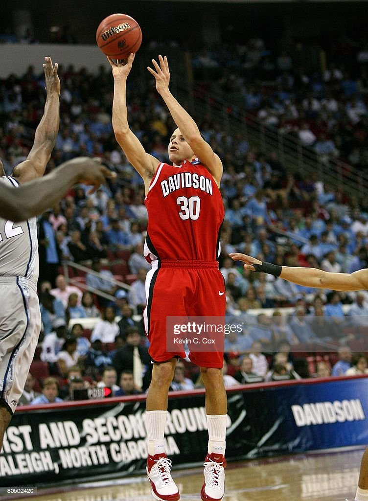 Stephen Curry #30 of the Davidson Wildcats shoots the jump shot against the Georgetown Hoyas during the 2nd round of the East Regional of the 2008 NCAA Men's Basketball Tournament at RBC Center on March 23, 2008 in Raleigh, North Carolina. The Wildcats defeated the Hoyas 74-70.