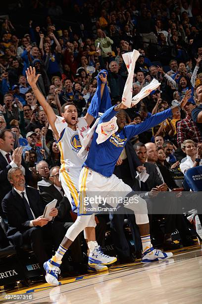 Stephen Curry of the Golden State Warriors and Draymond Green of the Golden State Warriors celebrate during the game against the Memphis Grizzlies...