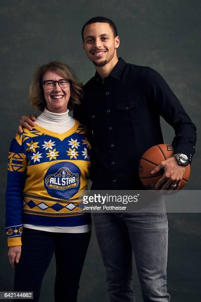 Stephen Curry of the Golden State Warriors and Golden State Warriors dance mom Robin Schreiber poses for portraits during the NBAE Circuit as part of...