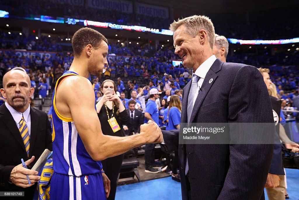 Stephen Curry #30 of the Golden State Warriors and head coach Steve Kerr celebrate defeating the Oklahoma City Thunder 108-101 in game six of the Western Conference Finals during the 2016 NBA Playoffs at Chesapeake Energy Arena on May 28, 2016 in Oklahoma City, Oklahoma.