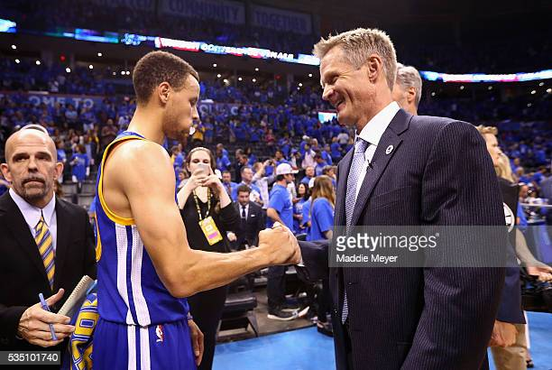 Stephen Curry of the Golden State Warriors and head coach Steve Kerr celebrate defeating the Oklahoma City Thunder 108101 in game six of the Western...
