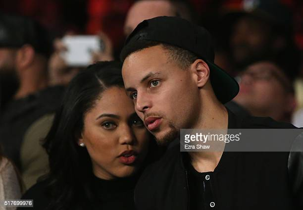 Stephen Curry of the Golden State Warriors and his wife Ayesha attend the Andre Ward fight against Sullivan Barrera in their IBF Light Heavyweight...