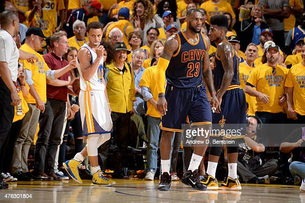 Stephen Curry of the Golden State Warriors and LeBron James of the Cleveland Cavaliers during Game Two of the 2015 NBA Finals on June 7 2015 at...
