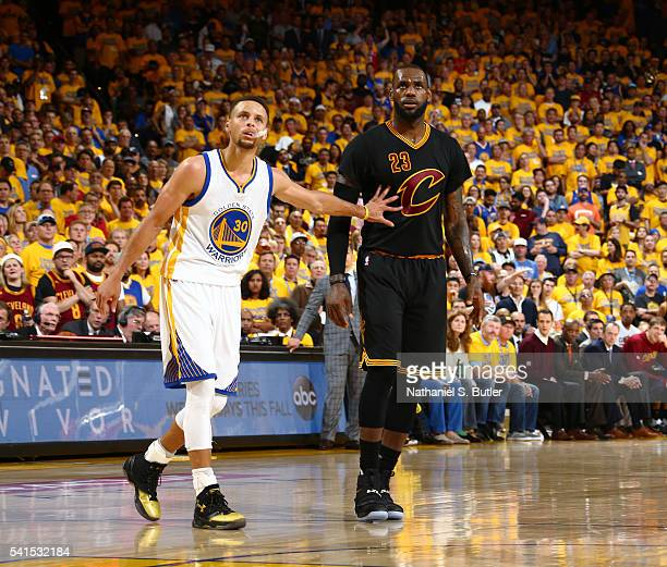 Stephen Curry of the Golden State Warriors and LeBron James of the Cleveland Cavaliers during the game in Game Seven of the 2016 NBA Finals on June...