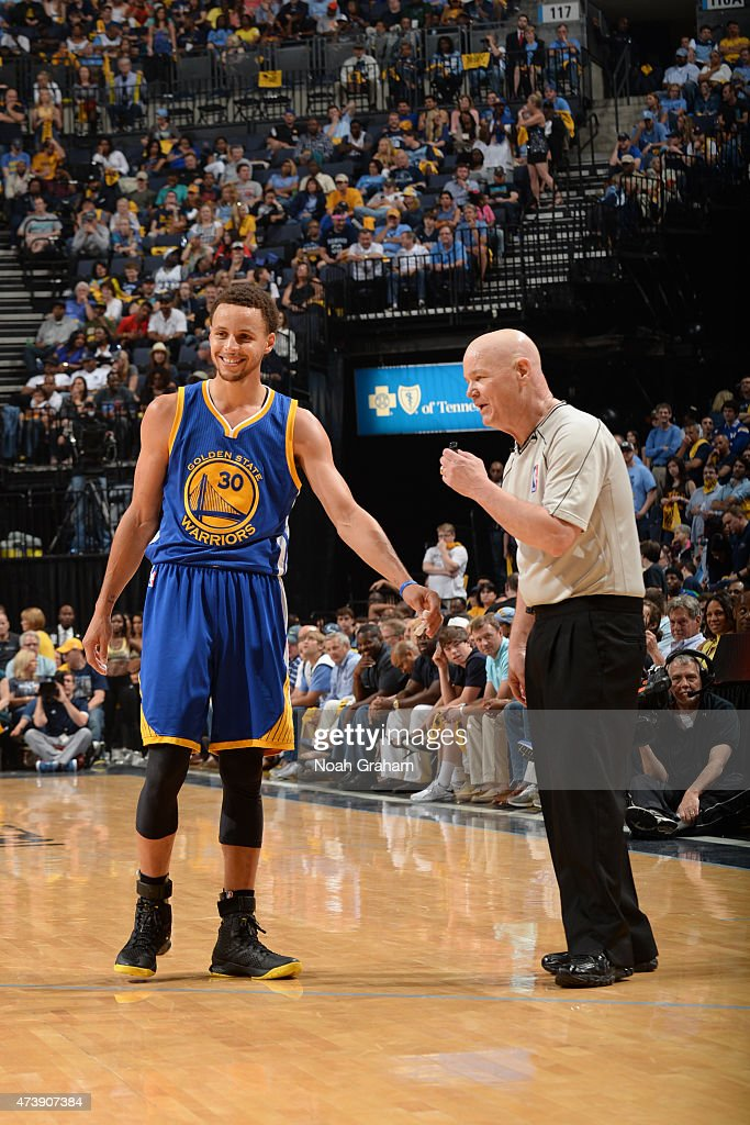 <a gi-track='captionPersonalityLinkClicked' href=/galleries/search?phrase=Stephen+Curry+-+Basketball+Player&family=editorial&specificpeople=5040623 ng-click='$event.stopPropagation()'>Stephen Curry</a> #30 of the Golden State Warriors and NBA Referee Joe Crawford speak during a game against the Memphis Grizzlies in Game Six of the Western Conference Semifinals during the 2015 NBA Playoffs on May 15, 2015 at the FedExForum in Memphis, Tennessee.