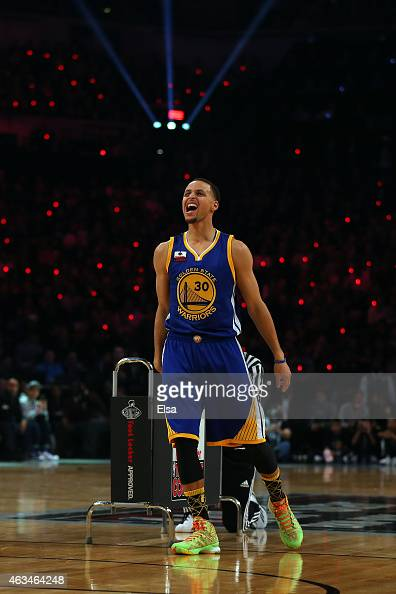 Stephen Curry of the Golden State Warriors and of the Western Conference reacts during the Foot Locker ThreePoint Contest as part of the 2015 NBA...