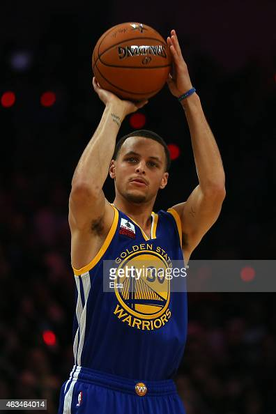 Stephen Curry of the Golden State Warriors and of the Western Conference competes during the Foot Locker ThreePoint Contest as part of the 2015 NBA...