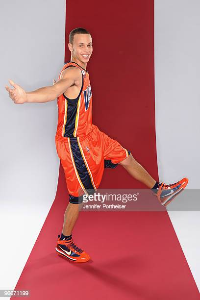 Stephen Curry of the Golden State Warriors and participant in the Foot Locker ThreePoint Shootout poses for a portrait during AllStar Saturday Night...