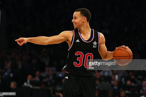 Stephen Curry of the Golden State Warriors and the Western Conference points during the 2015 NBA AllStar Game at Madison Square Garden on February 15...