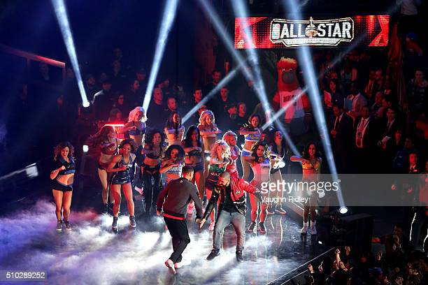 Stephen Curry of the Golden State Warriors and the Western Conference is introduced as rapper Drake looks on during the NBA AllStar Game 2016 at the...