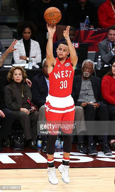 Stephen Curry of the Golden State Warriors and the Western Conference shoots in the second half against the Eastern Conference during the NBA AllStar...