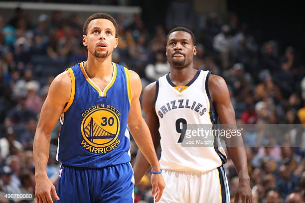Stephen Curry of the Golden State Warriors and Tony Allen of the Memphis Grizzlies during the game on November 11 2015 at FedExForum in Memphis...