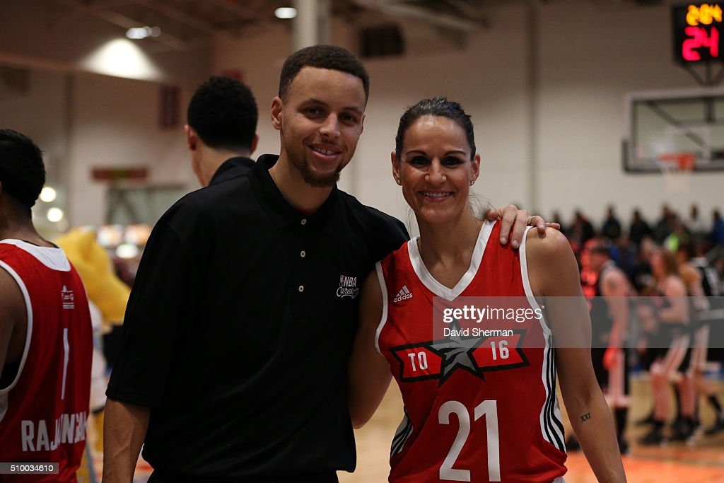Stephen Curry of the Golden State Warriors and WNBA legend Ticha Penichiero pose for a photo during the NBA Cares Special Olympics Unified Game as part of 2016 All-Star Weekend at the Enercare Centre on February 13, 2016 in Toronto, Ontario, Canada.