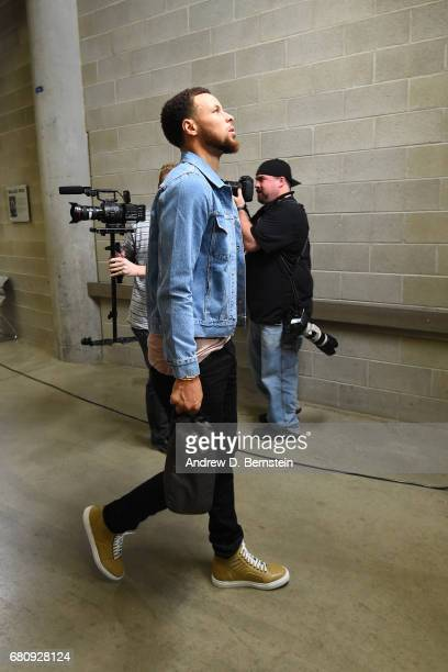 Stephen Curry of the Golden State Warriors arrives at the arena before Game Three of the Western Conference Semifinals against the Utah Jazz during...