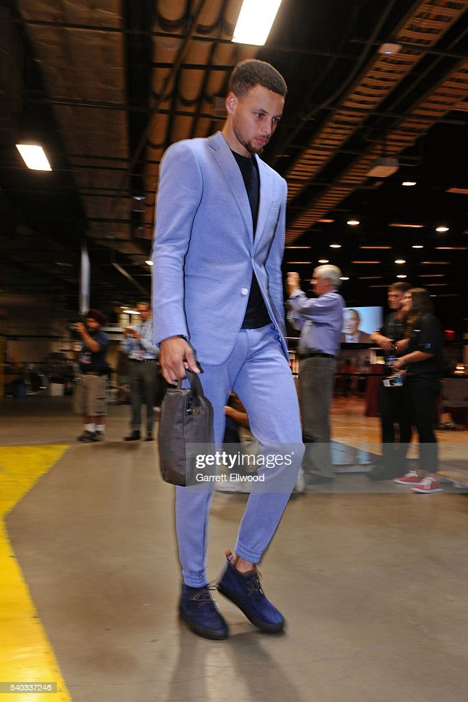 Stephen Curry #30 of the Golden State Warriors arrives before Game Four of the 2016 NBA Finals against the Cleveland Cavaliers at The Quicken Loans Arena on June 10, 2016 in Cleveland, Ohio.