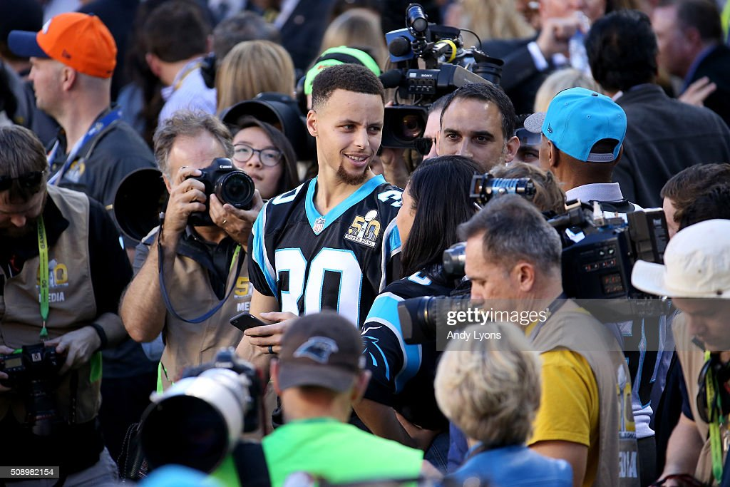 Stephen Curry of the Golden State Warriors attends Super Bowl 50 between the Denver Broncos and the Carolina Panthers at Levi's Stadium on February 7, 2016 in Santa Clara, California.