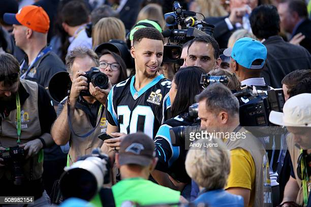 Stephen Curry of the Golden State Warriors attends Super Bowl 50 between the Denver Broncos and the Carolina Panthers at Levi's Stadium on February 7...