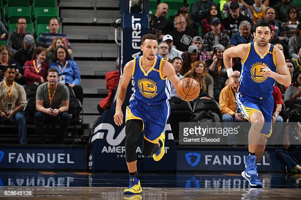 Stephen Curry of the Golden State Warriors brings the ball up court against the Utah Jazz during the game on December 8 2016 at vivintSmartHome Arena...
