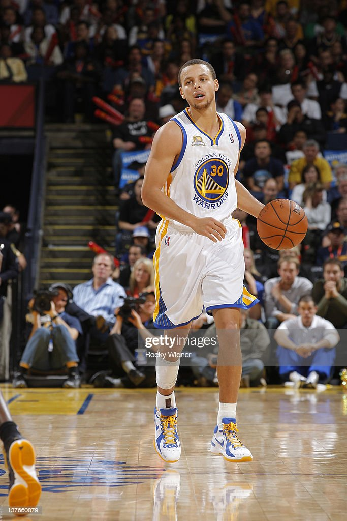 Stephen Curry #30 of the Golden State Warriors brings the ball up the court during a game against the Indiana Pacers on January 20, 2012 at Oracle Arena in Oakland, California.