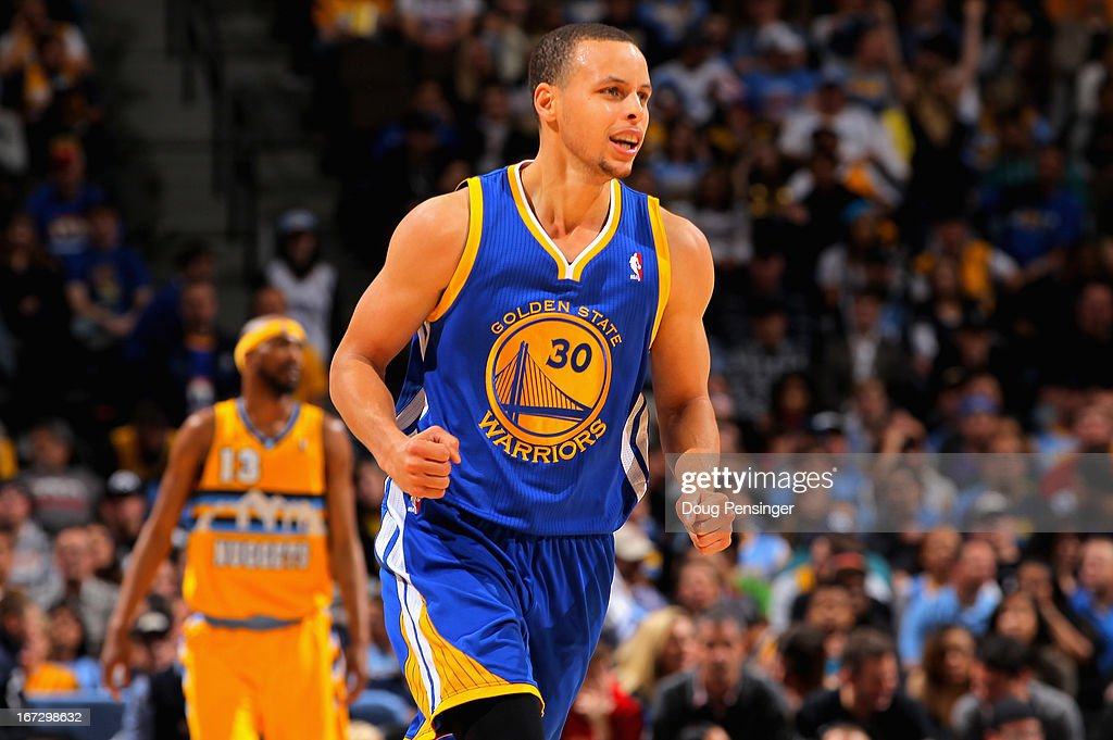 Stephen Curry #30 of the Golden State Warriors celebrates a play against the Denver Nuggets during Game Two of the Western Conference Quarterfinals of the 2013 NBA Playoffs at the Pepsi Center on April 23, 2013 in Denver, Colorado. The Warriors defeated the Nuggets 131-117.