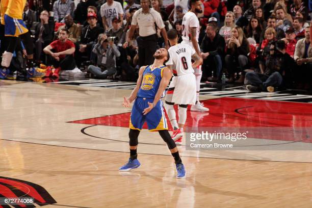 Stephen Curry of the Golden State Warriors celebrates a play in Game Four of the Western Conference Quarterfinals against the Portland Trail Blazers...