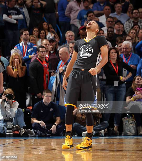 Stephen Curry of the Golden State Warriors celebrates after hitting the game winning shot against the Oklahoma City Thunder on February 27 2016 at...