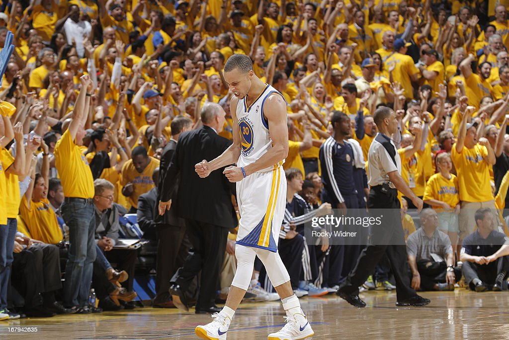 Stephen Curry #30 of the Golden State Warriors celebrates after making a shot against the Denver Nuggets in Game Six of the Western Conference Quarterfinals during the 2013 NBA Playoffs on May 2, 2013 at Oracle Arena in Oakland, California.