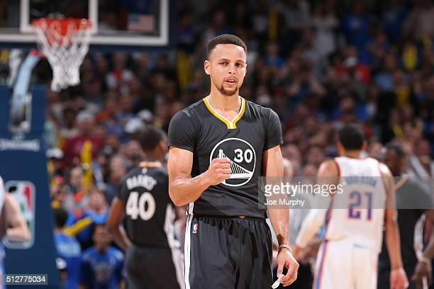 Stephen Curry of the Golden State Warriors celebrates after the game against the Oklahoma City Thunder on February 27 2016 at Chesapeake Energy Arena...