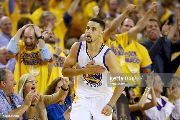 Stephen Curry of the Golden State Warriors celebrates against the Cleveland Cavaliers during the second quarter in Game 5 of the 2016 NBA Finals at...