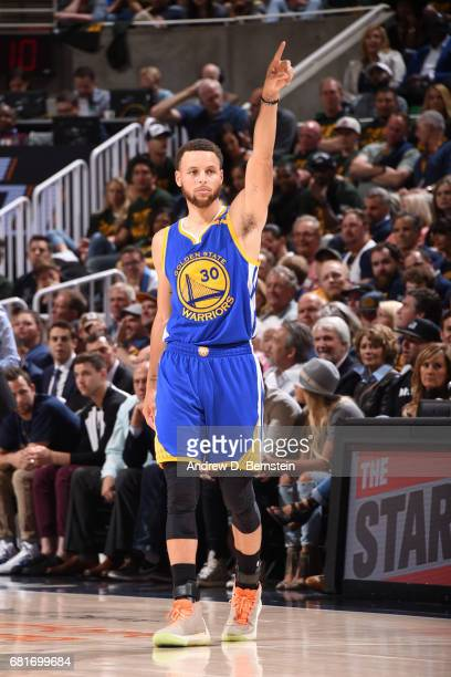 Stephen Curry of the Golden State Warriors celebrates during Game Four of the Western Conference Semifinals of the 2017 NBA Playoffs on May 8 2017 at...