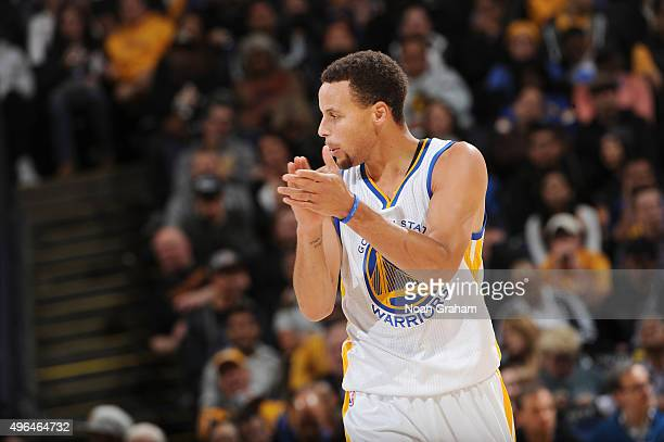 Stephen Curry of the Golden State Warriors celebrates during the game against the Detroit Pistons on November 9 2015 at ORACLE Arena in Oakland...
