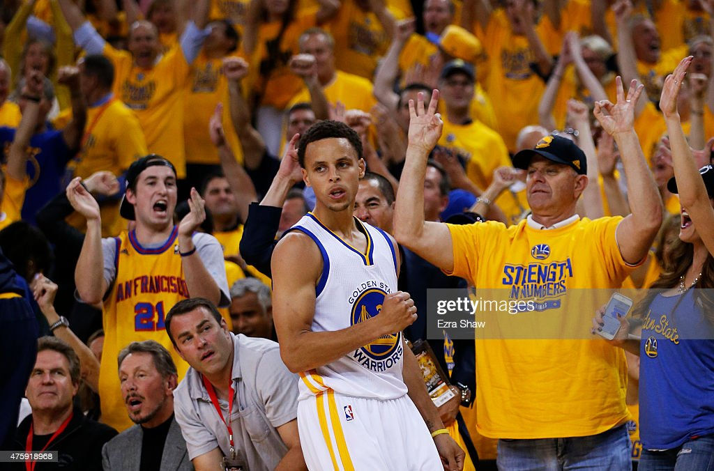 Stephen Curry of the Golden State Warriors celebrates in the second quarter against the Cleveland Cavaliers during Game One of the 2015 NBA Finals at...