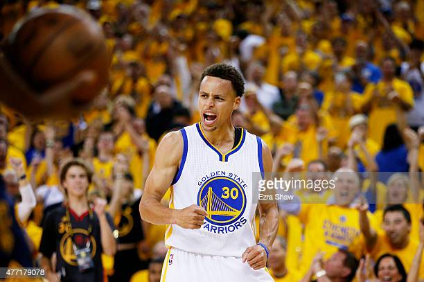 Stephen Curry of the Golden State Warriors celebrates in the second quarter against the Cleveland Cavaliers during Game Five of the 2015 NBA Finals...